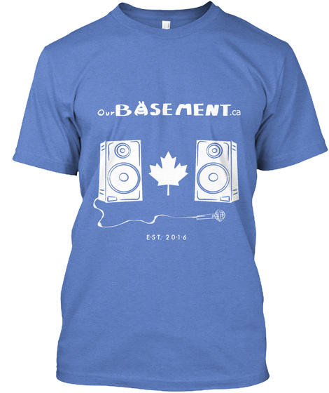 Our Basement.Ca Est.2016 Heathered Royal  T-Shirt Front