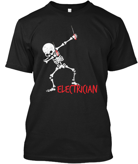 Sarcastic Electrician Hoodie Black T-Shirt Front