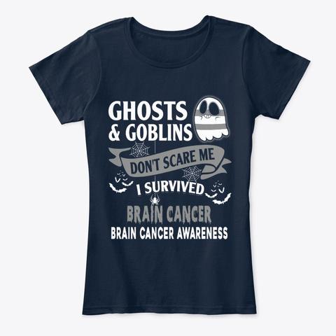 Halloween Brain Cancer Awareness New Navy T-Shirt Front