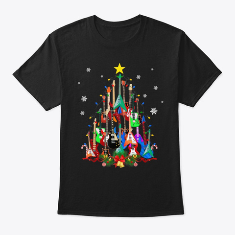 Mens Womens Guitar Christmas Tree Shirts Black T-Shirt Front