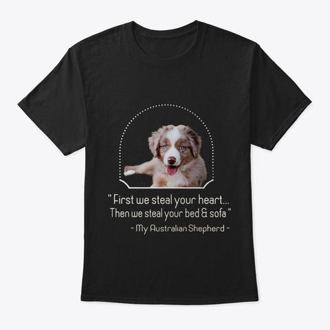 Australian Shepherd Black T-Shirt Front