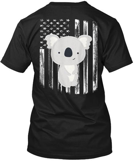 American Flag Koala 4th Of July Shirts Black T-Shirt Back