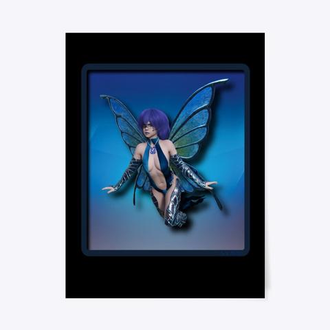 Blue Elemental Fairy Black T-Shirt Front