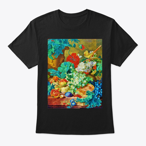 Flowers With Fruits   2 Black T-Shirt Front