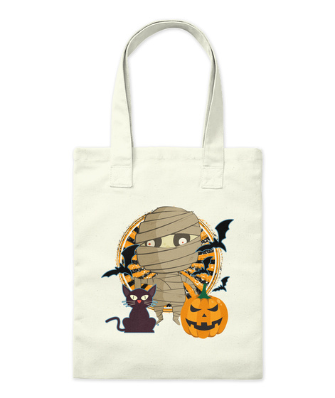 Halloween Tote Mummy Natural T-Shirt Front