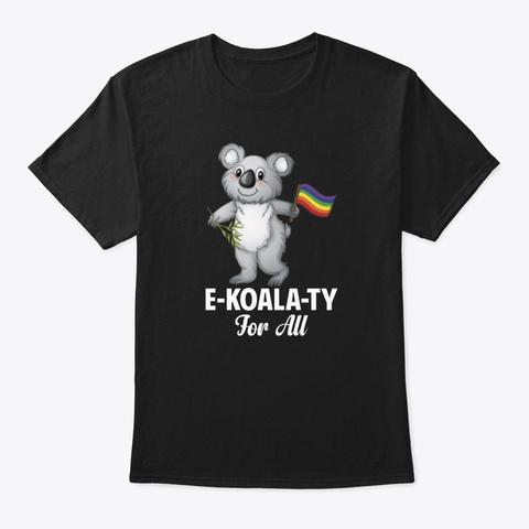 Rainbow Flag Koala For All  Black T-Shirt Front