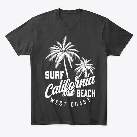 Surf California Beach West Coast   Tees Black T-Shirt Front