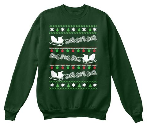 Motor Biker Ugly Christmas Sweater Deep Forest  T-Shirt Front