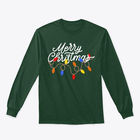 Merry Christmas Lights T Shirt Forest Green T-Shirt Front