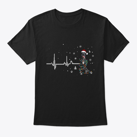 Great Dane Cute Dog Christmas Black T-Shirt Front