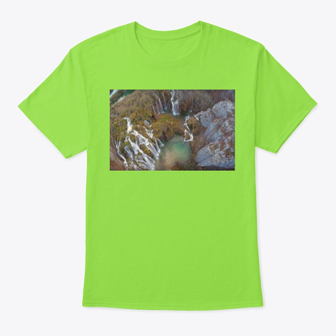 The Plitvice Lakes Lime T-Shirt Front