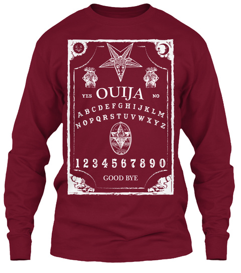 Yes Ouija No Abcdefghijklmnopqrstuvwxyz 1234567890 Good Bye Cardinal Red T-Shirt Front