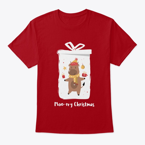 Moo Rry Christmas Cow With Gifts Deep Red T-Shirt Front