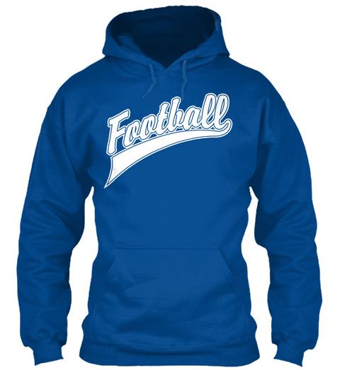 Hoodie Football Sports Sweatshirt Royal T-Shirt Front