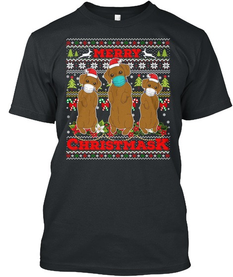 Merry Christmask 2020 Dachshund Ugly Black T-Shirt Front