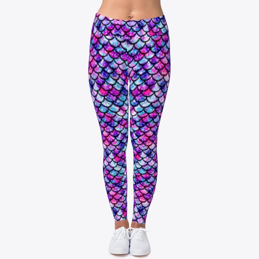 d2e6862f56 Printed Mermaid Scale Women's Print Fitness Stretch *Leggings* Yoga Pants