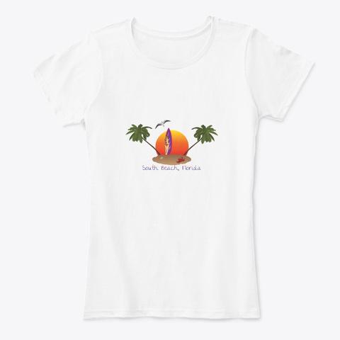 South Beach Florida White T-Shirt Front