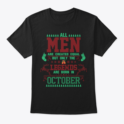 Born In October Christmas Black T-Shirt Front