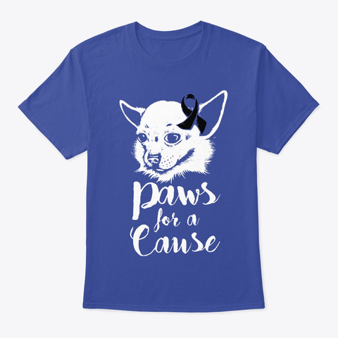 Paws For A Cause Skin Cancer Awareness Deep Royal T-Shirt Front