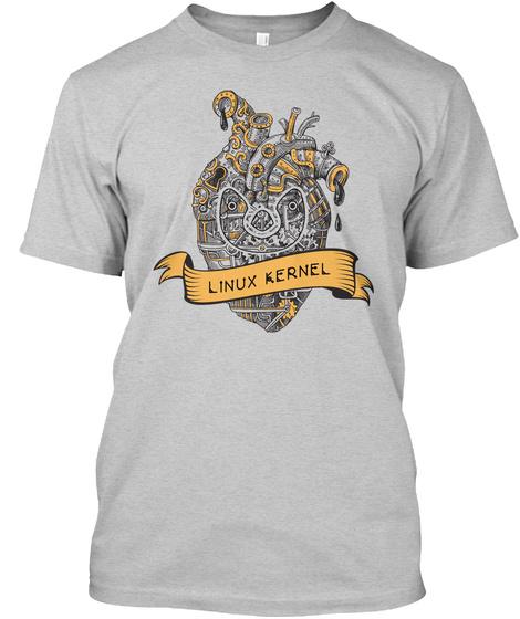 White Linux Kernel Print (Us) Light Steel T-Shirt Front