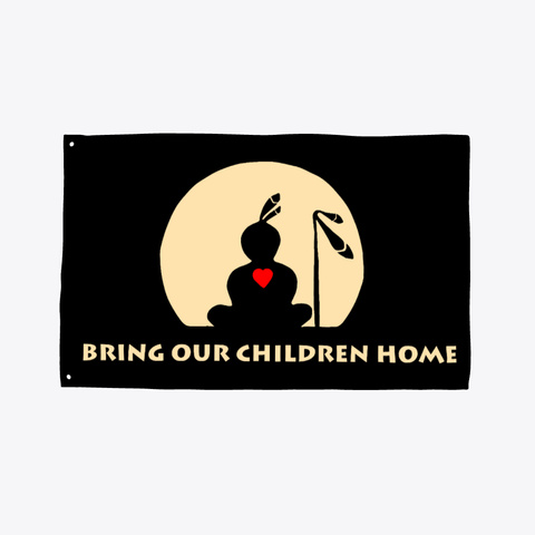 Bring Our Children Home Flag Black T-Shirt Front