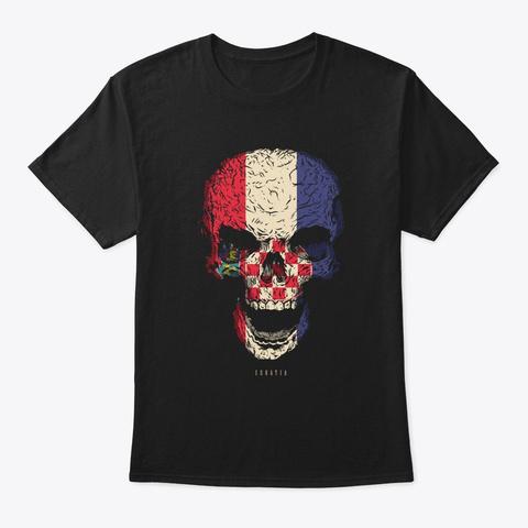 Skull Croatia Flag Skeleton Black T-Shirt Front