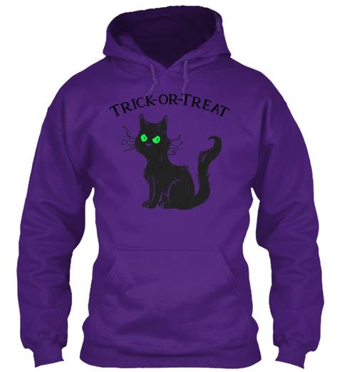 Black Cat Trick Or Treat Halloween Purple T-Shirt Front