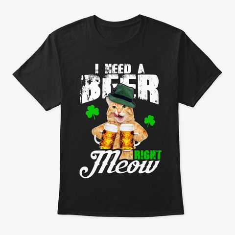 Funny  Cat Lover St Patrick's Day Gifts Black T-Shirt Front