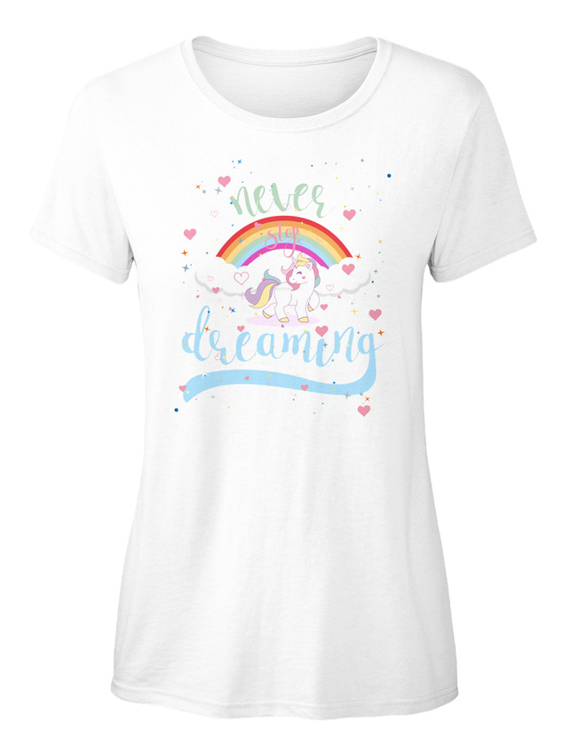 Never-Stop-Dreaming-Unicorn-T-shirt-Elegant-pour-Femme