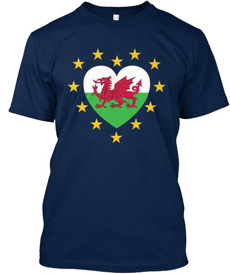 Welsh And European Heart Navy T-Shirt Front