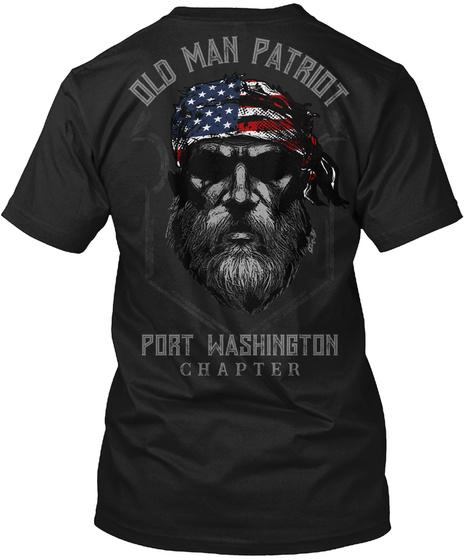 Port Washington Old Man Black T-Shirt Back