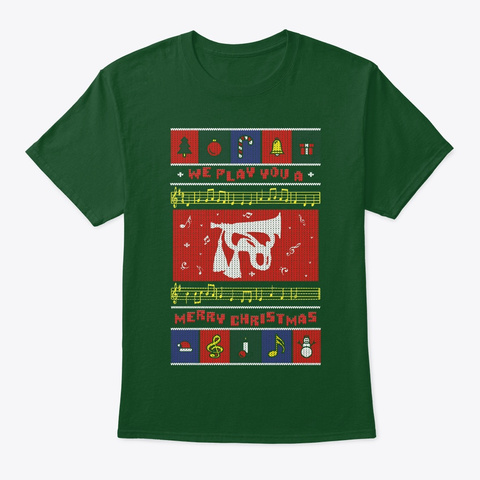 Bugle With Cords Ugly Christmas Deep Forest T-Shirt Front