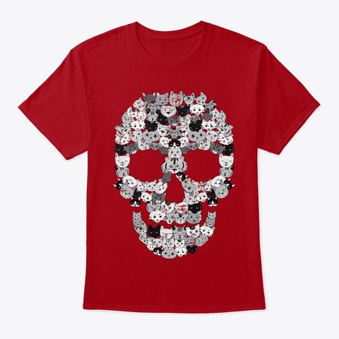 Skull Cats | Creepy Feline Deep Red T-Shirt Front