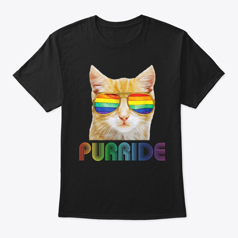 Lgbt Cat Purride Funny Lgbt  Pride Month Black T-Shirt Front