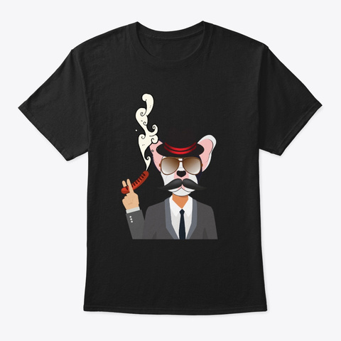 Funny  French Bulldog Sir Ruppert Black T-Shirt Front