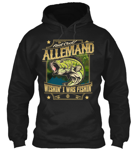 Allemand Fishing Gift Black T-Shirt Front