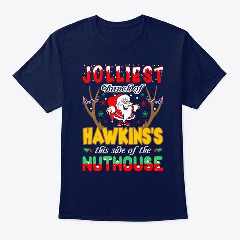 Jolliest Bunch Of Hawkins Christmas Navy T-Shirt Front