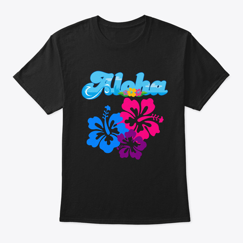 Aloha Hawaii Hawaiian Beach T Shirt Black T-Shirt Front