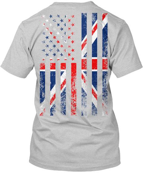 Usa + Uk Flag (Back Only) Light Steel T-Shirt Back
