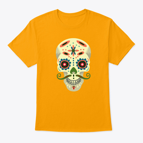 Spooky Sugar Skull Hipster With Mu Gold T-Shirt Front
