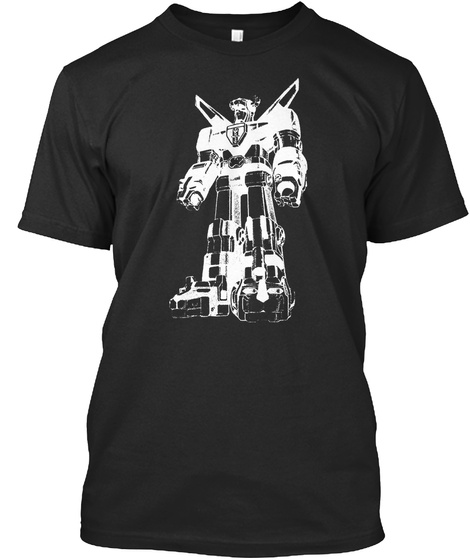 Vintage 80's Robot Tee Black T-Shirt Front