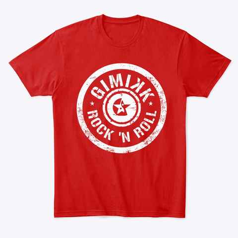 Gimikk Rock 'n  Roll White Text Classic Red T-Shirt Front