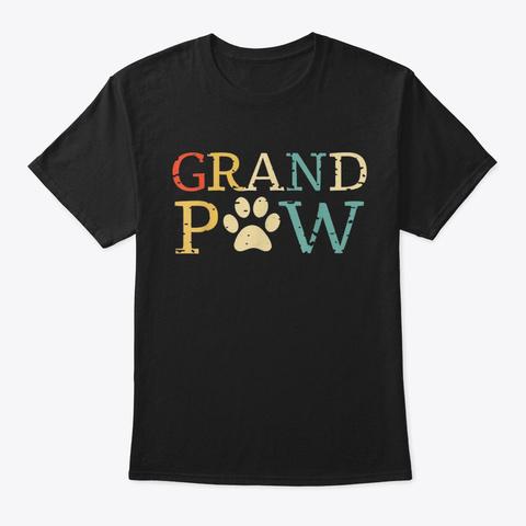 Dog Grand Paw Puppy Lover Vintage Retro Black T-Shirt Front