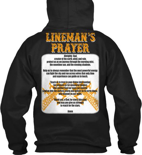 Lineman's Prayer Black T-Shirt Back