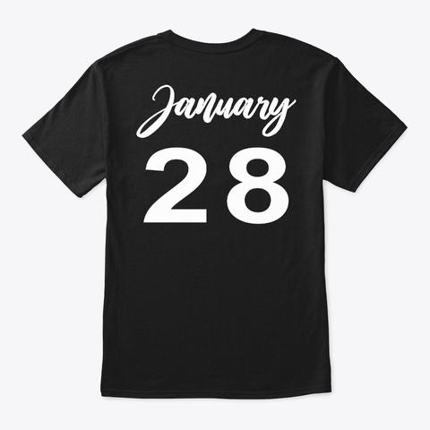 January 28   Aquarius Black T-Shirt Back