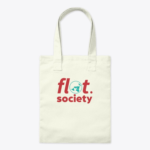 Flat Earth Society Vintage Map Science C Natural T-Shirt Front