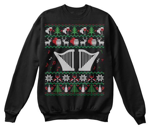 Wine Harp Ugly Christmas Sweater Gifts Black T-Shirt Front