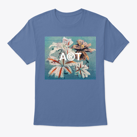 Lilies Still Life Vintage Flowers  Denim Blue T-Shirt Front