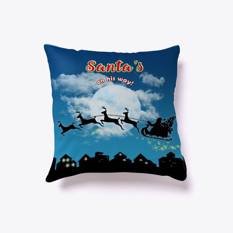 Santa Christmas Home Decor Throw Pillow Denim Blue T-Shirt Front