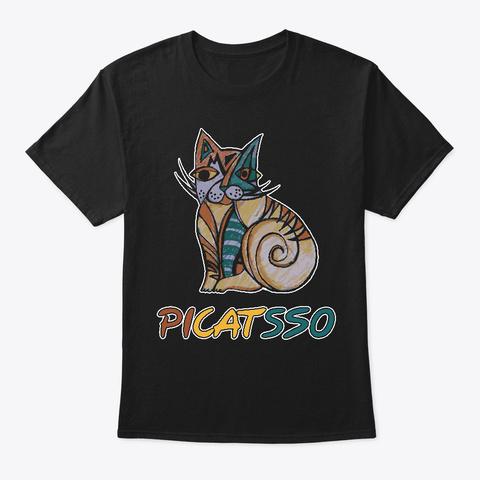 PicatssoArt For Cat Lover, Cat Lady Black T-Shirt Front